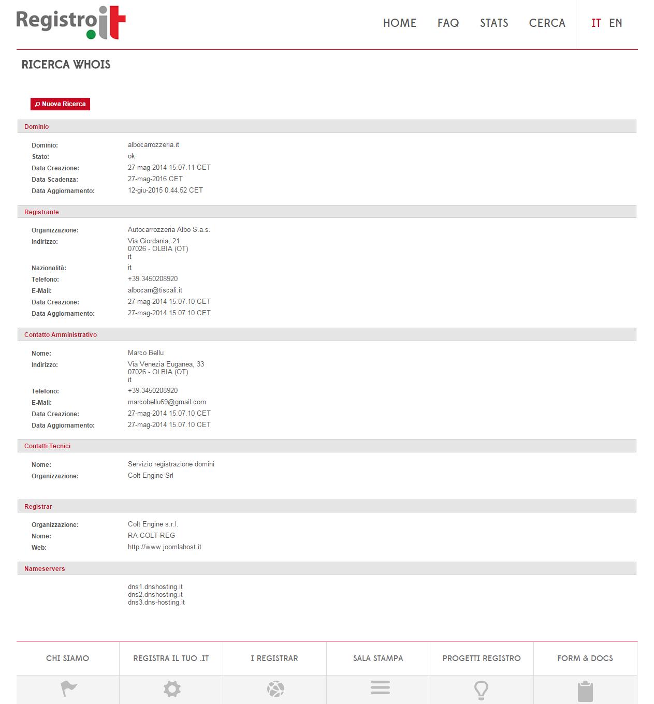 I dati di registrazione di un dominio dal sito del registo http://www.nic.it/