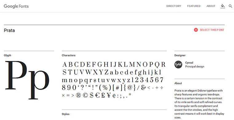 Prata il font scelto per i testi di questo sito