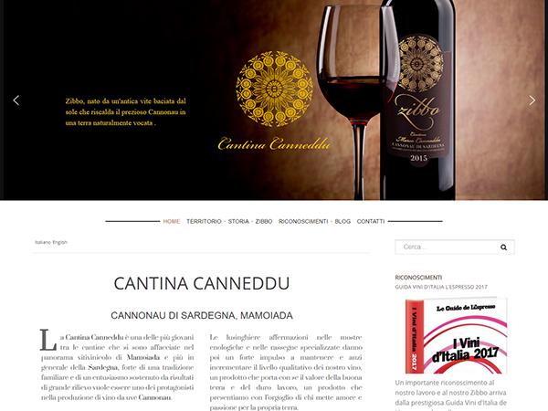 La homepage del sito www.cantinacanneddu.it