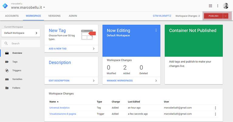 Google Tag Manager: pubblicazione del tag