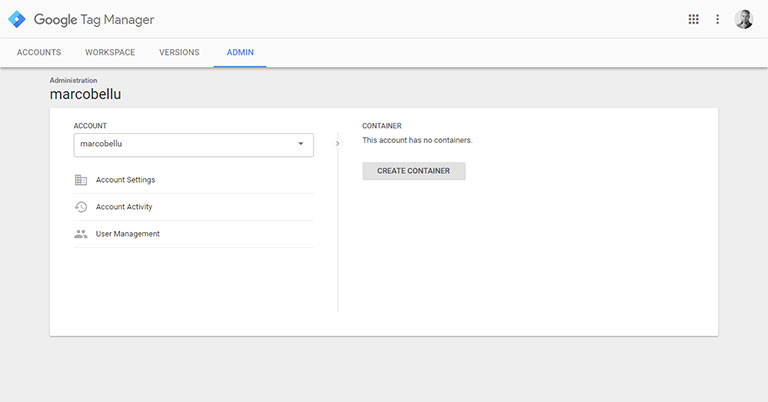 Google Tag Manager: creare il container