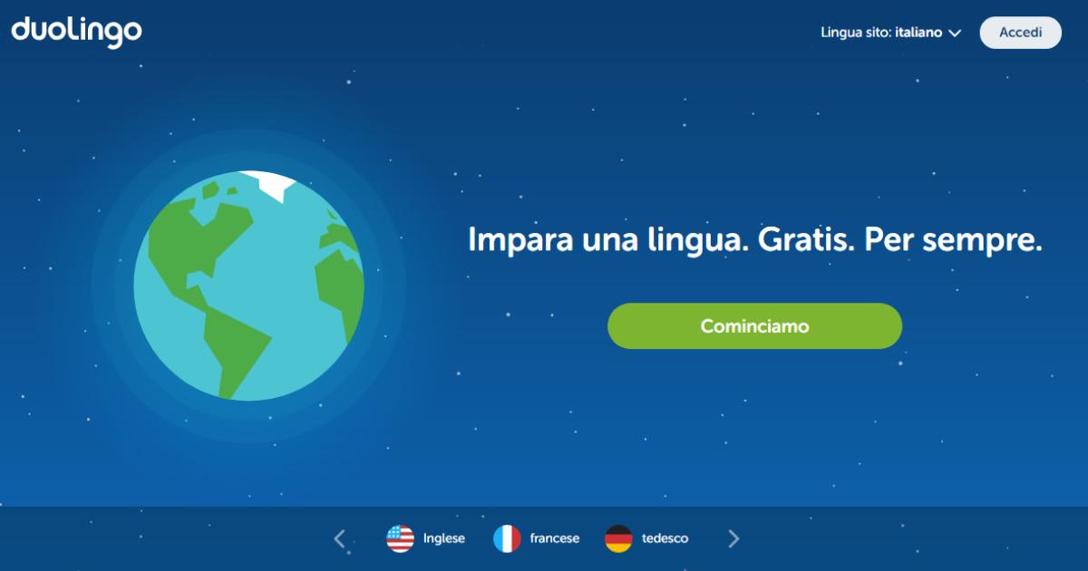 Homepage Duolingo