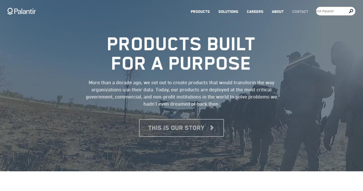 Homepage Palantir