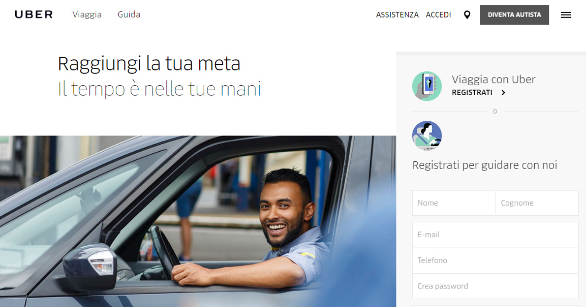 Homepage Uber